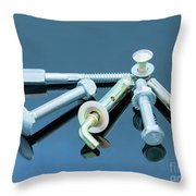 Screwbolts Screw Nuts, Hanger And Bolt Washers On Blue Background Construction Concept. Throw Pillow