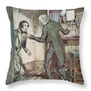 Scrooge And Bob Cratchit Throw Pillow