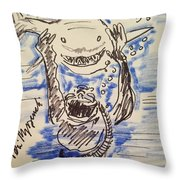 Scuba Diving With Sharks Throw Pillow