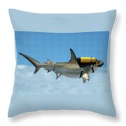 Scuba Shark Throw Pillow