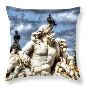 Sculptur And Birds Paris  Throw Pillow