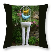 Sculpture Birds Cage And Legs Throw Pillow