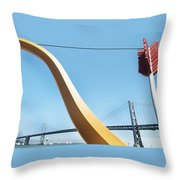 Sculpture By San Francisco Bay Bridge Throw Pillow