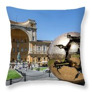 Sculpture In The Pinecone Courtyard Throw Pillow
