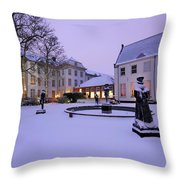 Sculptures In Front Of Hotel Karel V In Utrecht 11 Throw Pillow