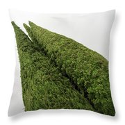 Sculpturesque Greenery - Three Cypress Trees Chiseled Against The Sky Throw Pillow