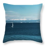 Sea And Snowy Alps Throw Pillow