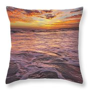 Sea At Sunset In Algarve Throw Pillow