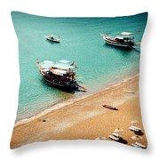 Sea Boats In The Laguna Throw Pillow