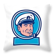 Sea Captain Smoking Pipe Circle Retro Throw Pillow
