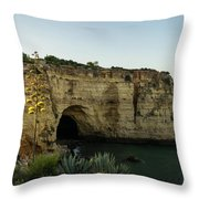 Sea Cave And Agave Bloom Spike - The Magic Of Algarve Portugal Throw Pillow