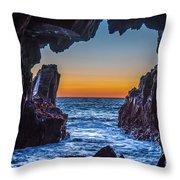 Sea Cave Sunset Throw Pillow