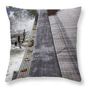 Sea Cliff Seawall Boardwalk Throw Pillow