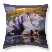 Sea Cliffs In Afternoon Light Throw Pillow