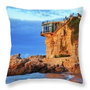 Sea Coast Sunrise At Balcon De Europa In Nerja Throw Pillow