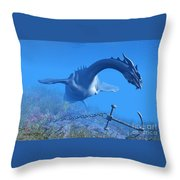 Sea Dragon And Anchor Throw Pillow
