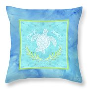 Flamingo Beach 1 - Turtle With Starfish  Throw Pillow
