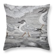 Sea Gulls Dodging The Ocean Waves Throw Pillow