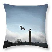 Sea Gulls Playing Bird Tag Throw Pillow