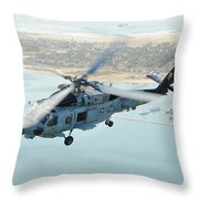 Sea Hawk Helicopter Flies Over  San Diego Throw Pillow