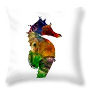 Sea Horse Throw Pillow by Michael Colgate