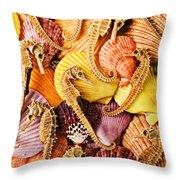 Sea Horses And Sea Shells Throw Pillow