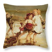 Sea Horses Throw Pillow by Frederick Morgan