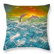 Sea In Action Throw Pillow