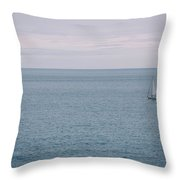Sea Landscape With Alone Sailboat In Garda Throw Pillow