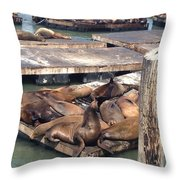 Sea Lions And Seagull Throw Pillow
