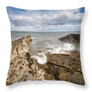 Sea Meets Rocks At Howick Throw Pillow
