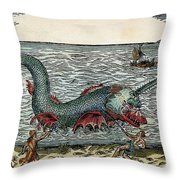 Sea Monster, 16th Century Throw Pillow