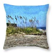 Sea Oats And Coastline Throw Pillow