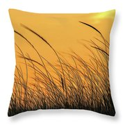 Sea Oats At Dusk Throw Pillow