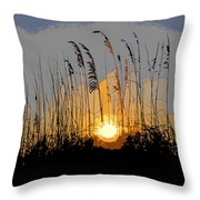 Sea Oats At Sunset Throw Pillow