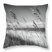 Sea Oats In Black And White Throw Pillow