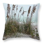 Sea Oats In Light Fog Throw Pillow