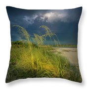 Sea Oats In The Storm Throw Pillow