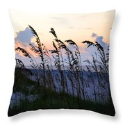 Sea Oats Silhouette Throw Pillow by Kristin Elmquist