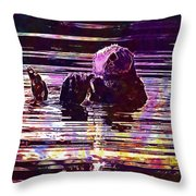 Sea Otter Swimming Floating Water  Throw Pillow