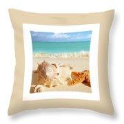 Sea Shell Seashell Clam Beach Decorative Square Zippered Throw Pillow Throw Pillow