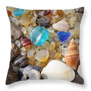 Sea Shells Art Prints Blue Seaglass Sea Glass Coastal Throw Pillow