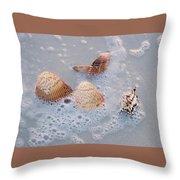 Sea Shells In An Ocean Wave Throw Pillow