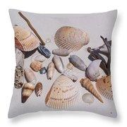 Sea Shells On White Sand Throw Pillow