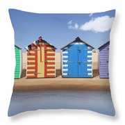 Seaside Beach Huts Throw Pillow