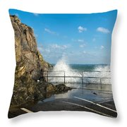 Sea Spray At Mevagissey Harbour Throw Pillow