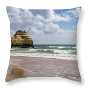 Sea Stack Sculpted Like A Ship Riding The Waves Throw Pillow