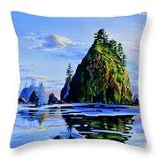Sea Stack Serenity Throw Pillow
