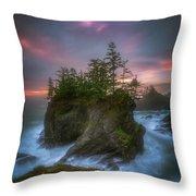 Sea Stack With Trees Of Oregon Coast Throw Pillow