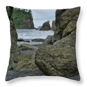 Sea Stacks And Boulders Washington State Throw Pillow